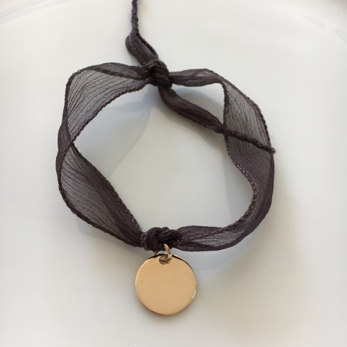Médaille Or Jaune ruban taupe foncé