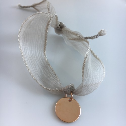 Médaille Or Rose ruban taupe clair