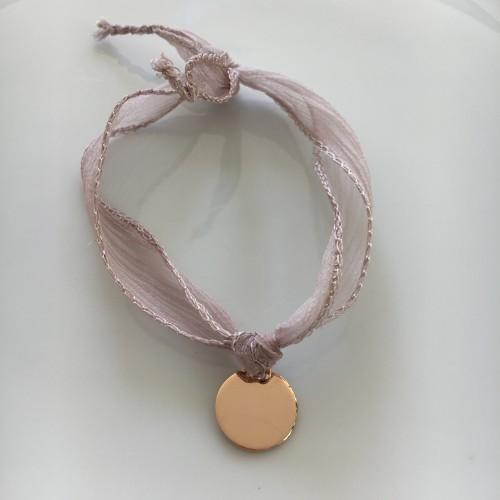 Médaille Or Rose ruban rose poudré