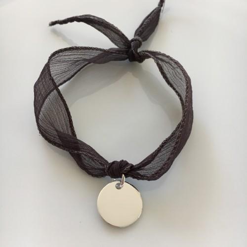 Médaille Argent ruban taupe foncé