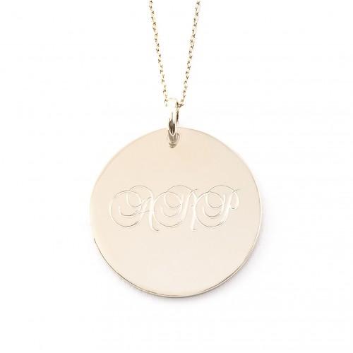 Médaille Emma 27mm gravée 3 initiales - 1 ligne