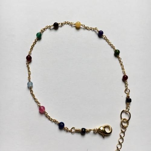 Bracelet Venise Plaqué Or Jaune & agates multicolores