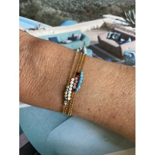 Bracelet Dune en Plaqué Or Jaune & pierres semi précieuses